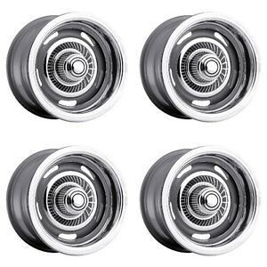 Set 4 15 Vision 55 Rally Silver Wheels 15x5 5x4 5 5x4 75 6mm Ford Chevy 5 Lug