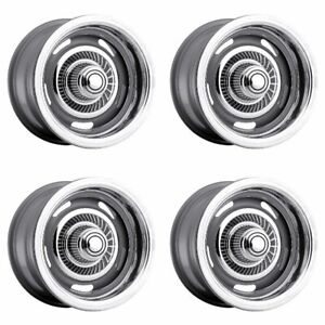 Set 4 15 Vision 55 Rally Silver Classic Wheels 15x6 5x4 75 12mm Vintage Rims