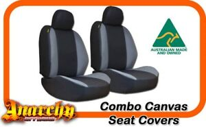 Rear Black Panelled Canvas Seat Covers For Ford Falcon Ba bf Sedan 9 2002 5 2008