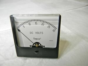 Simpson Analog Panel Meter Dc Voltage 0v To 30v Blk Spade Type Pointer 09770