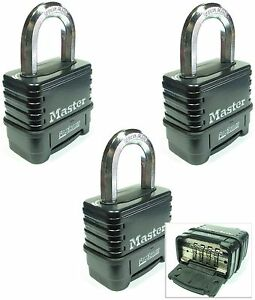Combination Lock Set By Master 1178d lot 3 Resettable Weather Sealed Carbide