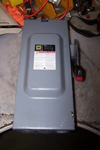 Square D 100 Amp Fused Safety Switch 240 Vac 30 Hp 3 Phase H323n