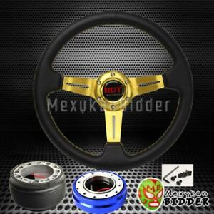Gold Deep Dish Steering Wheel Blue Quick Release For Honda Civic crx 88 91