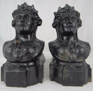 Antique French Cast Iron Fireplace Andirons Firedogs Woman Antique