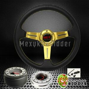 Gold Deep Dish Steering Wheel Silver Quick Release For Honda Accord 1983 1989