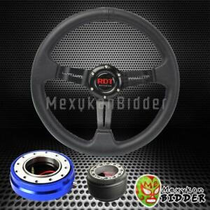 Black Deep Dish Steering Wheel Blue Quick Release For Honda Civic 1988 1991 Ef
