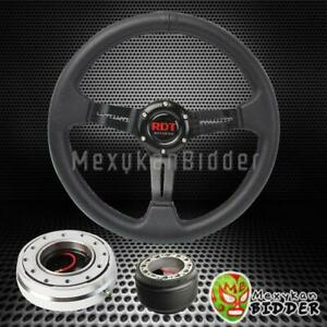 Black Deep Dish Steering Wheel Silver Quick Release For Honda Civic 1996 2000