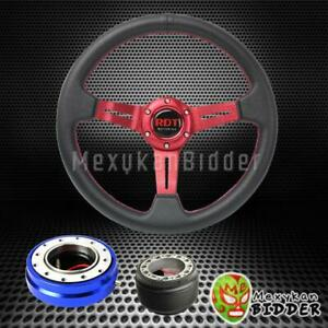 Red Deep Dish Steering Wheel Blue Quick Release For Acura Integra 1986 1989