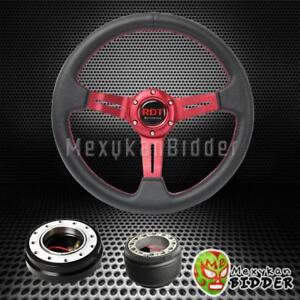 Red Steering Wheel Black Quick Release For Honda Crv Crz Fit Prelude S2000