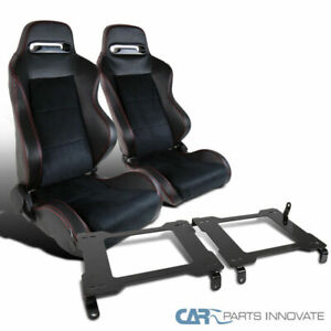 For 05 14 Ford Mustang Suede Leather Red Stitch Racing Seats base Mount Brackets
