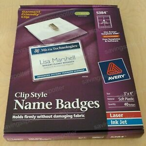 Avery Clip Style Name Badges Inserts Rigid Hard Plastic 2 1 4 X 3 1 2 100 pack