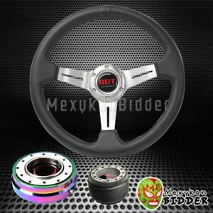 Silver Deep Dish Steering Wheel neo Chrome Quick Release For Acura Integra 94 01