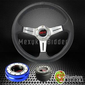 Silver Deep Dish Steering Wheel blue Quick Release For Honda Civic 1996 2000 Ek