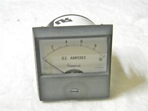 Simpson Analog Panel Ammeter 0 To10 Adc 2 5 Ul Century Series 17405