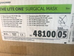 Halyard 48100 The Lite One Tie on Surgical Mask Blue 6 X 50 Pk 300 Mask