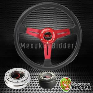 14 Black Red Steering Wheel Silver Quick Release Hub For Acura Integra 94 01