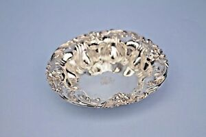 Antique Sterling Silver 6 Bon Bon Bowl Meriden Britannia Co Ornate Border Mono