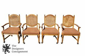 4 Broyhill Lenoir Mid Century Oak Cane Back Arm Chairs Rolling Game Card Accent