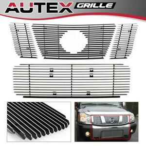 Fits For 2008 2014 Nissan Titan Horizontal Billet Grille Grill Combo Insert