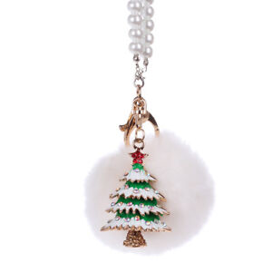 Car Decoration Auto Rearview Mirror Hanging Chain Pendant Fluffy Christmas Tree
