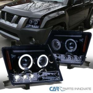 For 05 12 Nissan Xterra Glossy Black Halo Led Projector Headlights Head Lamps