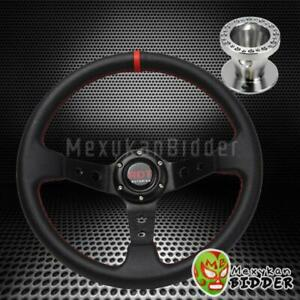 350mm Black Deep Dish Steering Wheel Aluminum Hub Kit For Acura Integra 94 01