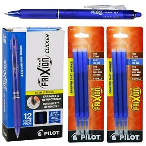 Pilot frixion Clicker Erasable Pen gel Ink blue 12 Pens With 2 Refill Set New