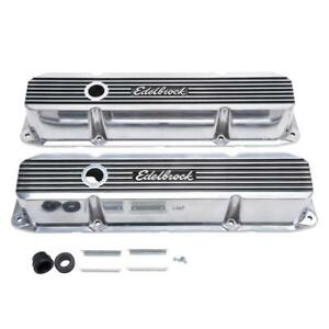 Edelbrock 4276 Valve Cover Set 3 620 Polished Aluminum For Chrysler B rb Mopar