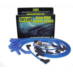 Taylor Spark Plug Wire Set 64658 High Energy 8 0mm Blue For Ford 302 351w Sbf