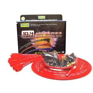 Taylor Spark Plug Wire Set 79255 409 Pro Race 10 4mm Red Straight Universal V8