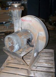 Spencer 15 Hp Stainless Steel Centrifugal Blower 8 1 2 X 8 Od 460 Vac