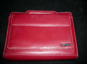 Franklin Covey Red Leather Organizer Planner Retractable Handle