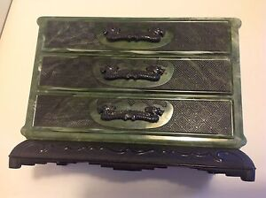 Antique Chinese Bakelite Plastic Celluloid Jewelry Box M1259