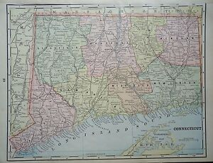 Vintage 1896 Connecticut Map Old Antique Original Atlas Map 86 061617