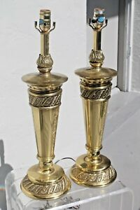 Pair Mid Century 1950 S Hollywood Regency Heavy Stiffel Brass Torchiere Lamps