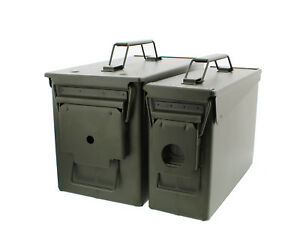 30 and 50 Cal Metal Gun Ammo Can 2 Pack – Military Steel Box Set Ammo Storage $38.99