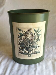 Vintage 13 5 Metal Trash Can Olive Green W Litho Picture Waste Paper Can Nice