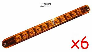 6 Bright Amber 17 Led Light Bar Trailer Truck Turn Tail Clearance Markers