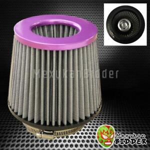 4 Inlet Purple Short Ram Cold Intake High Flow Mesh Air Filter Universal