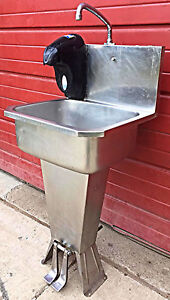 Columbia 501 Hands Free Hot Cold Foot Operated Kitchen Restaurant Sink Free Ship