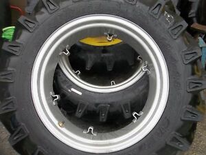 Two 12 4x28 12 4 28 8ply Ford Jubilee 2n 8n Tractor Tires On 6 Loop Wheels