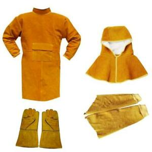 Cowhide Leather Welding Coat Protective Apron Gloves Sleeves Clothing Kit