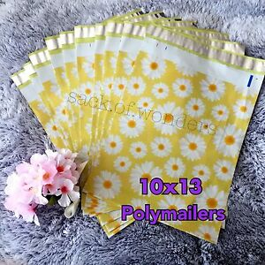 100 Designer Printed Poly Mailers 10x13 Shipping Envelopes Bags Yellow Daisy
