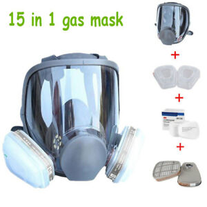 15 In 1 Full Face Gas Mask Facepiece Respirator Painting Spraying Set F 3m 6800