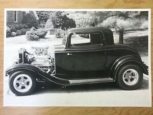 12 By 18 Black White Picture 1932 Ford 3 Window Coupe