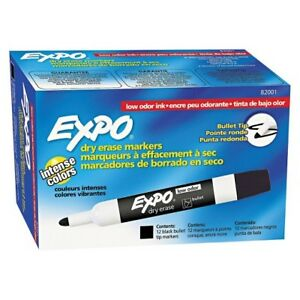 Expo Dry Erase Markers Low odor Chisel Tip 12 Markers pack Black