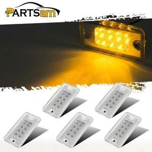 5pcs Clear amber 8led Cab Marker Roof Running Top Lights For Freightliner volvo