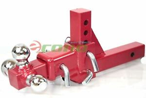 3 Way Tri Ball Adjustable 2 Receiver Raise Drop Verticle Triple Tow Hitch Red