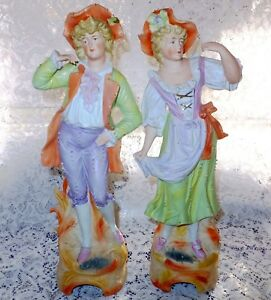 14 Pair Antique German Bisque Man And Woman Dancing Figurines Hand Painted Rd