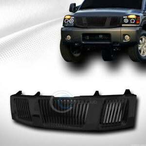 Fit 04 07 Nissan Titan Armada Glossy Blk Vertical Front Hood Bumper Grill Grille